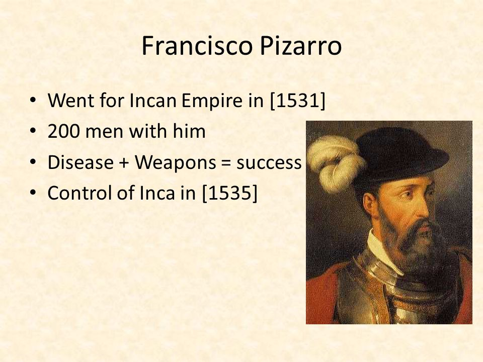 Francisco Pizarro Went for Incan Empire in [1531] 200 men with him